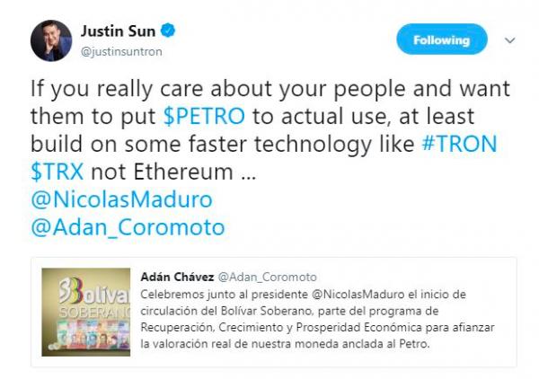 Джастин Сун призывает президента Венесуэлы связать Petro с Tron cryptowiki.ru